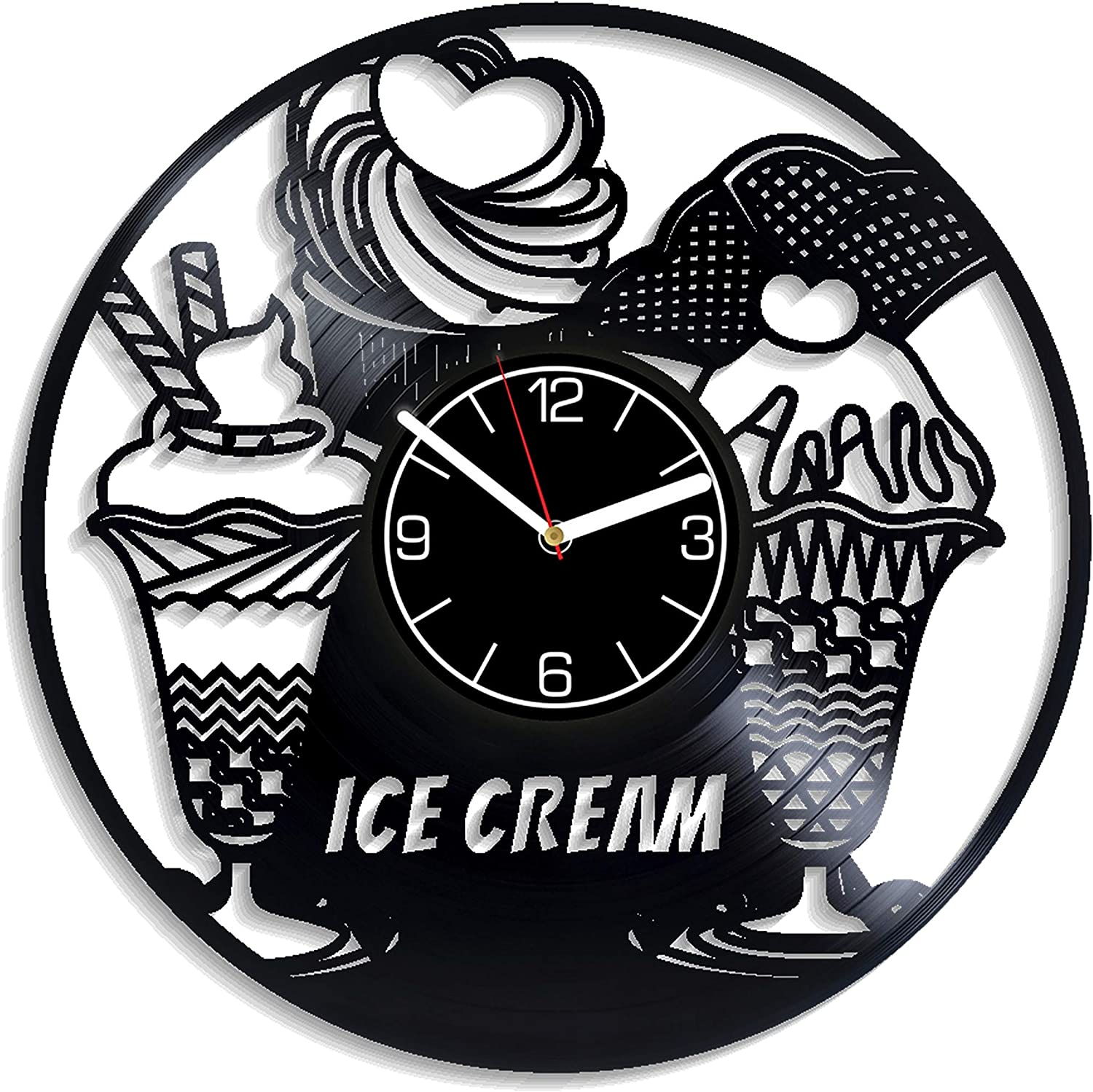 Kovides Food Kitchen Decoration 12 inch Wall Clock Xmas Gift Ice Cream Vinyl Record Wall Clock Gift For Her Ice Cream Wall Art Food Clock Ice Cream Wall Clock Exclusive Food Gift Ice Cream Vinyl Clock