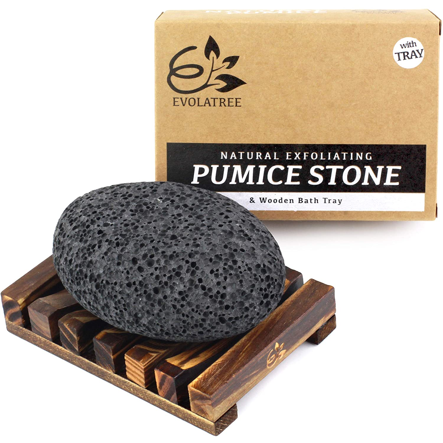 Evolatree Pumice Stone for Feet - Foot Pumice for Exfoliating Hard Skin - Natural Foot Stone Removes Callus on Hands, Heels, and Body - Foot Care Pedicure Gift Set w/BONUS Wooden Bath Tray: Beauty
