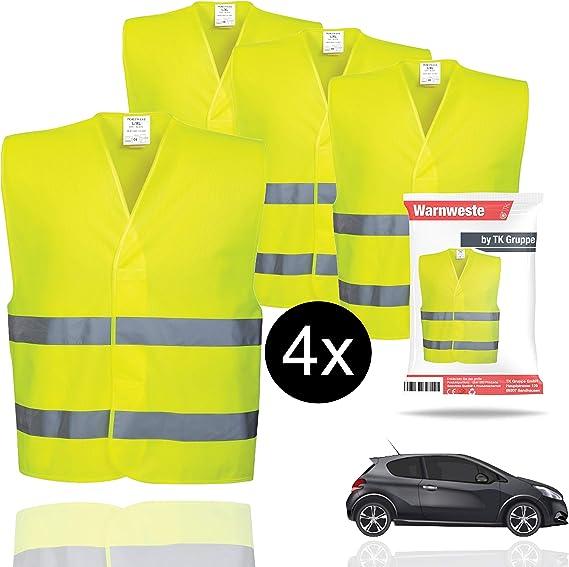 Warnwesten 5er Set,Warnschutzweste Auto Gelb Waschbar 360 Grad Reflektierende FA