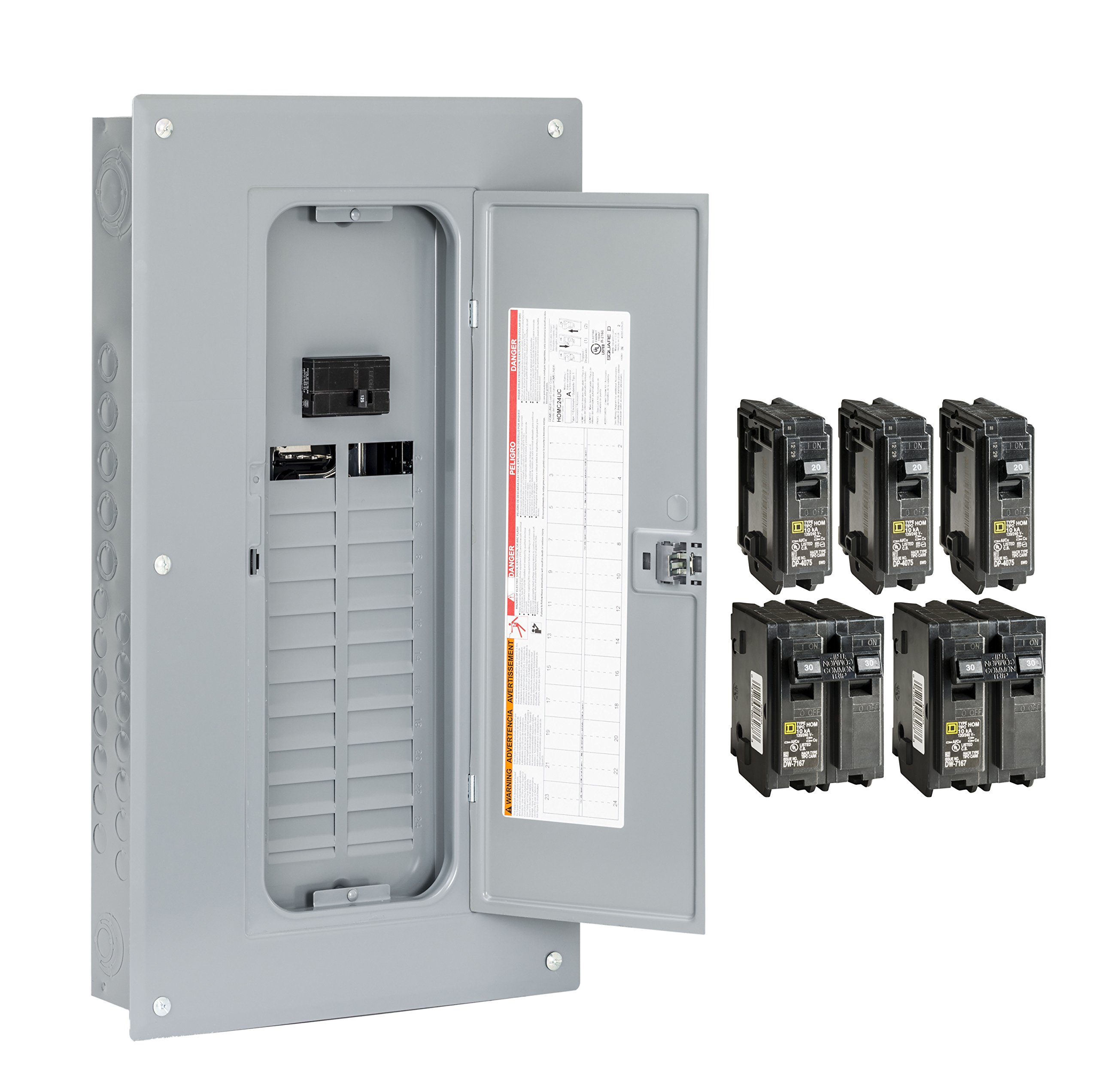 Best Rated In Circuit Breaker Panels Helpful Customer Reviews Wiring Also Electrical Panel Box Together With Leviton Square D By Schneider Electric Hom2448m100pcvp Homeline 100 Amp 24 Space 48 Indoor