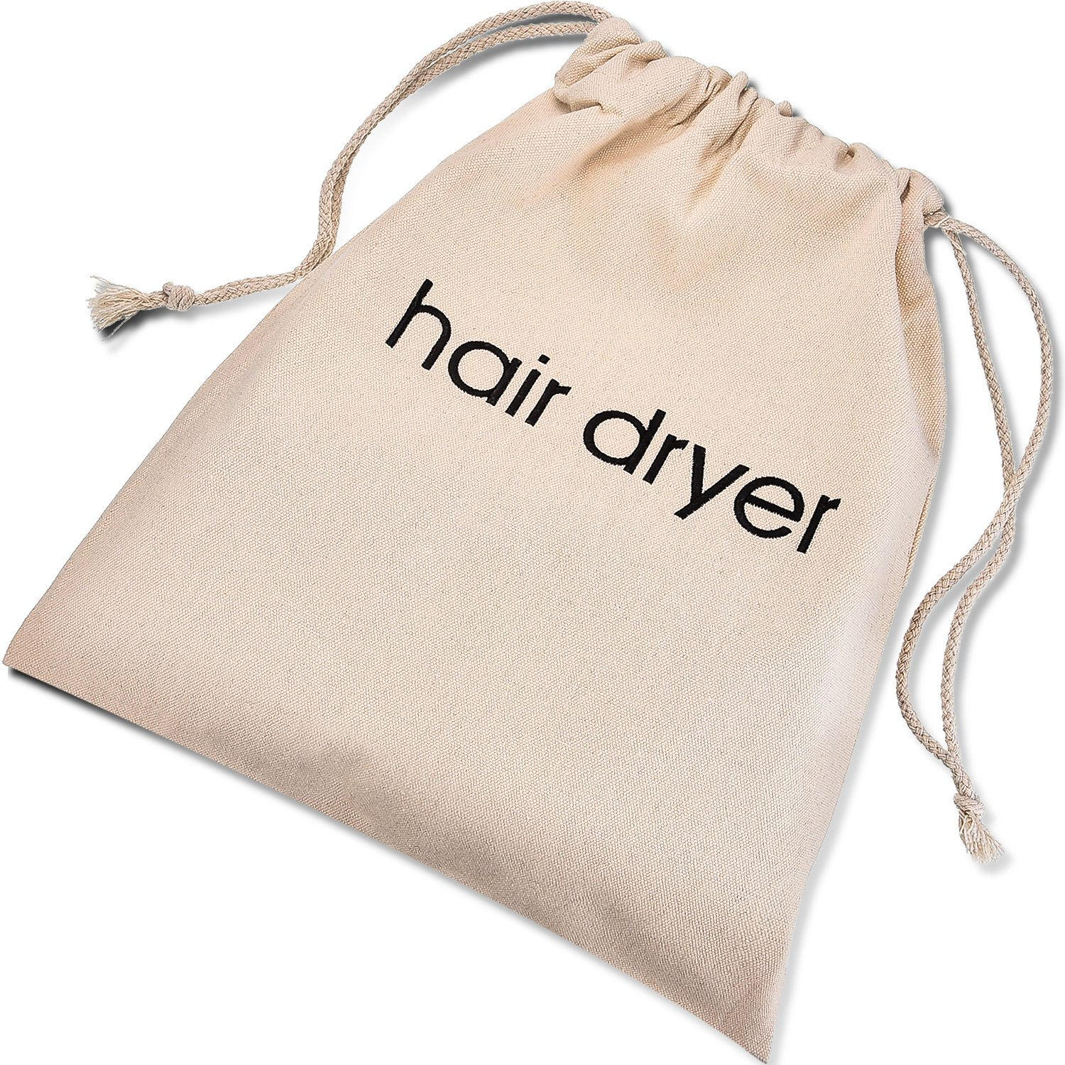 Bememo Hair Dryer Bags Cotton Drawstring Bag Container Hairdryer Bag 11.8 by 13.8 Inch Beige