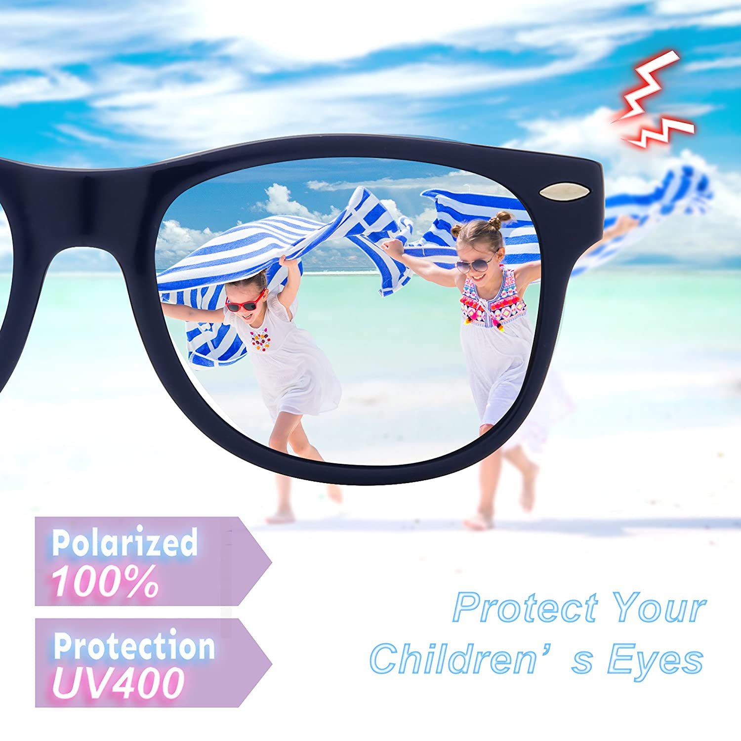 4458ff4e7f RIVBOS Rubber Kids Polarized Sunglasses With Strap Glasses for Boys Girls  Baby and Children Age 3-10 RBK004