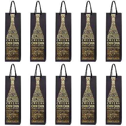 10 bolsas para botellas, bolsas de regalo para vino, prosecco y champán 40 x 12 x 9 cm - Felicitaciones 2