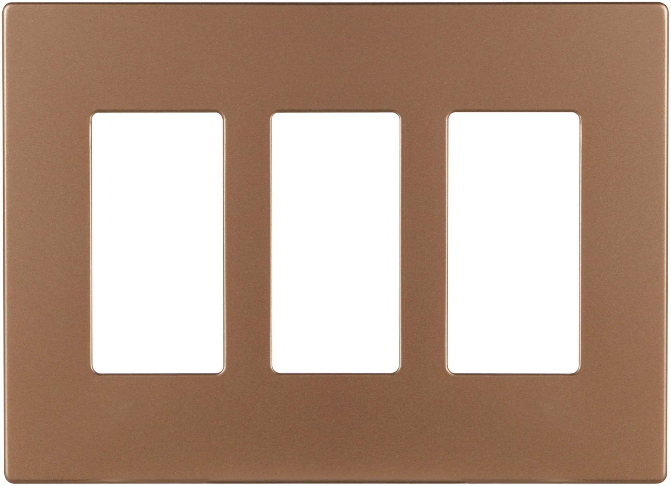 Cooper Wiring Devices PJS263BB-SP-L Polycarbonate 3-Gang Screwless Decorator Mid Size Wall Plate, Brushed Bronze