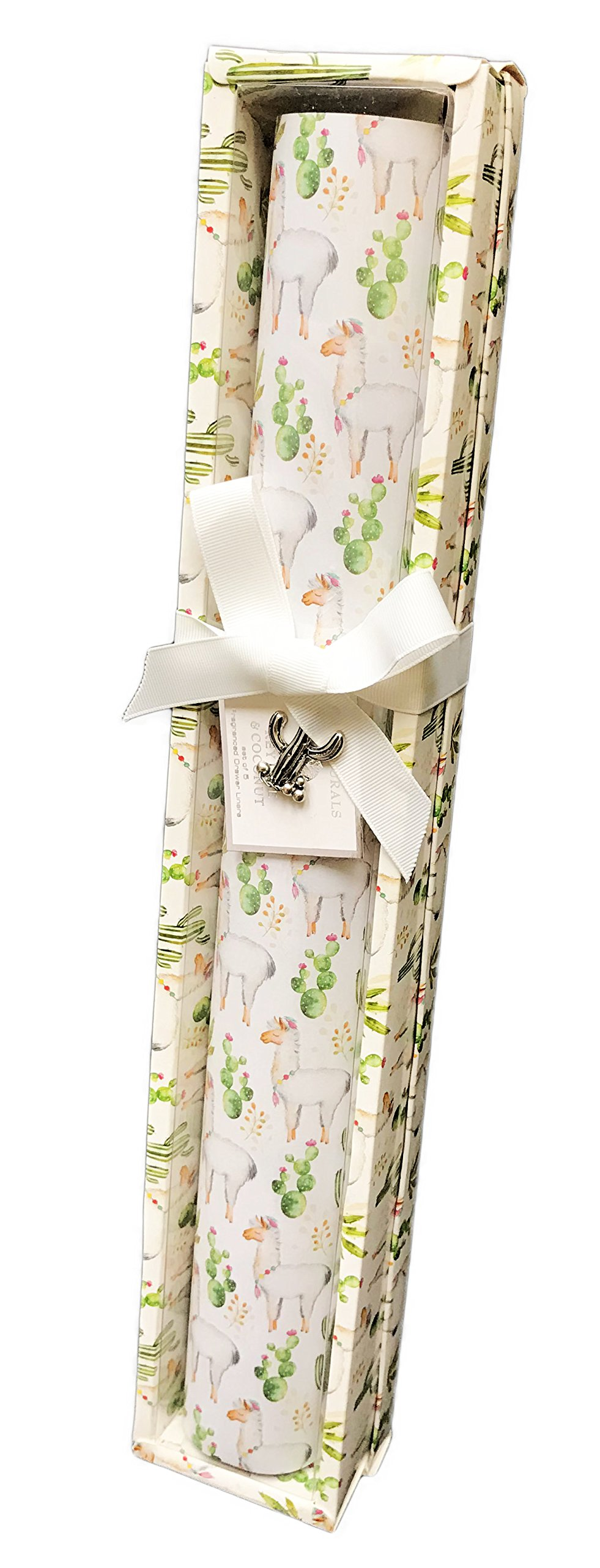 GC Naturals Whimsical Desert Llama's & Cacti Set of 5 Fragranced Drawer Liners (Key Lime & Coconut) by GC Naturals
