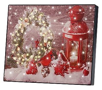 Weihnachtsbilder Für Frauen.Infactory Led Leinwandbild Wandbild Weihnachtskranz Mit Laterne Mit Led Beleuchtung 28 X 23 Cm Beleuchtete Bilder Weihnachten