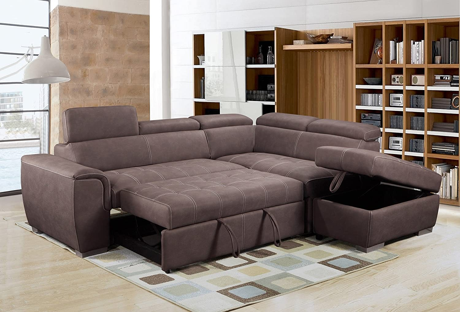 Rienzo Large Brown Fabric Suede Corner Sofa Bed With Tilting Headrest And Storage Ottoman Right Hand Facing Amazon Co Uk Kitchen Home