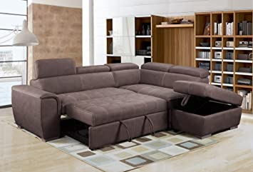 Rienzo Large Brown Fabric Suede Corner Sofa Bed With Tilting Headrest And  Storage Ottoman (Right Hand Facing)