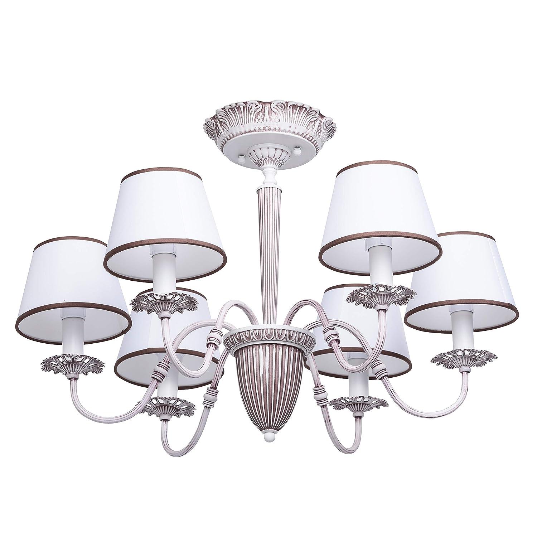 MW-Light 419011006 Klassischer Kronleuchter 6 Flammig Shabby Chic Weiß Wohnzimmer