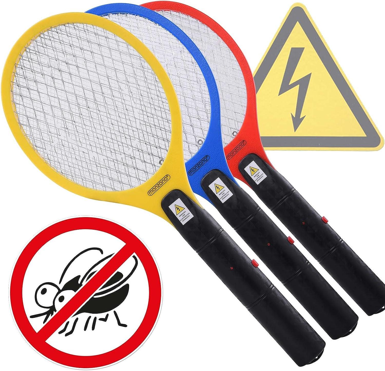 3x Tapettes /à mouches /électriques Tue-mouche Raquette /électrique Moustique insectes volants