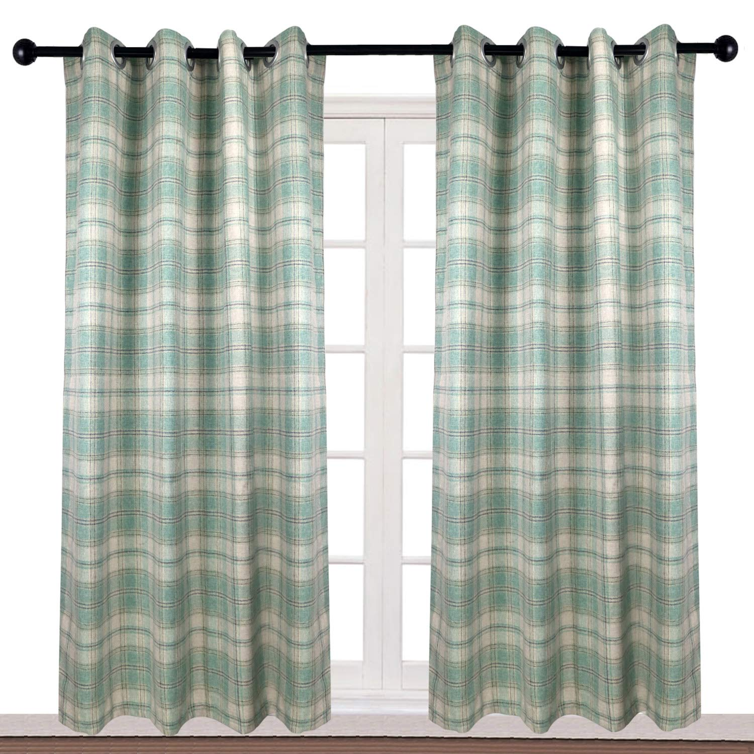 """Amazon.com: KALENDS Thermal Insulated British Style Plaid Grommet Curtains  for Living Room Bedroom Window Treatment - 52"""" W x 63"""" L - (2 Panels): Home  & ..."""