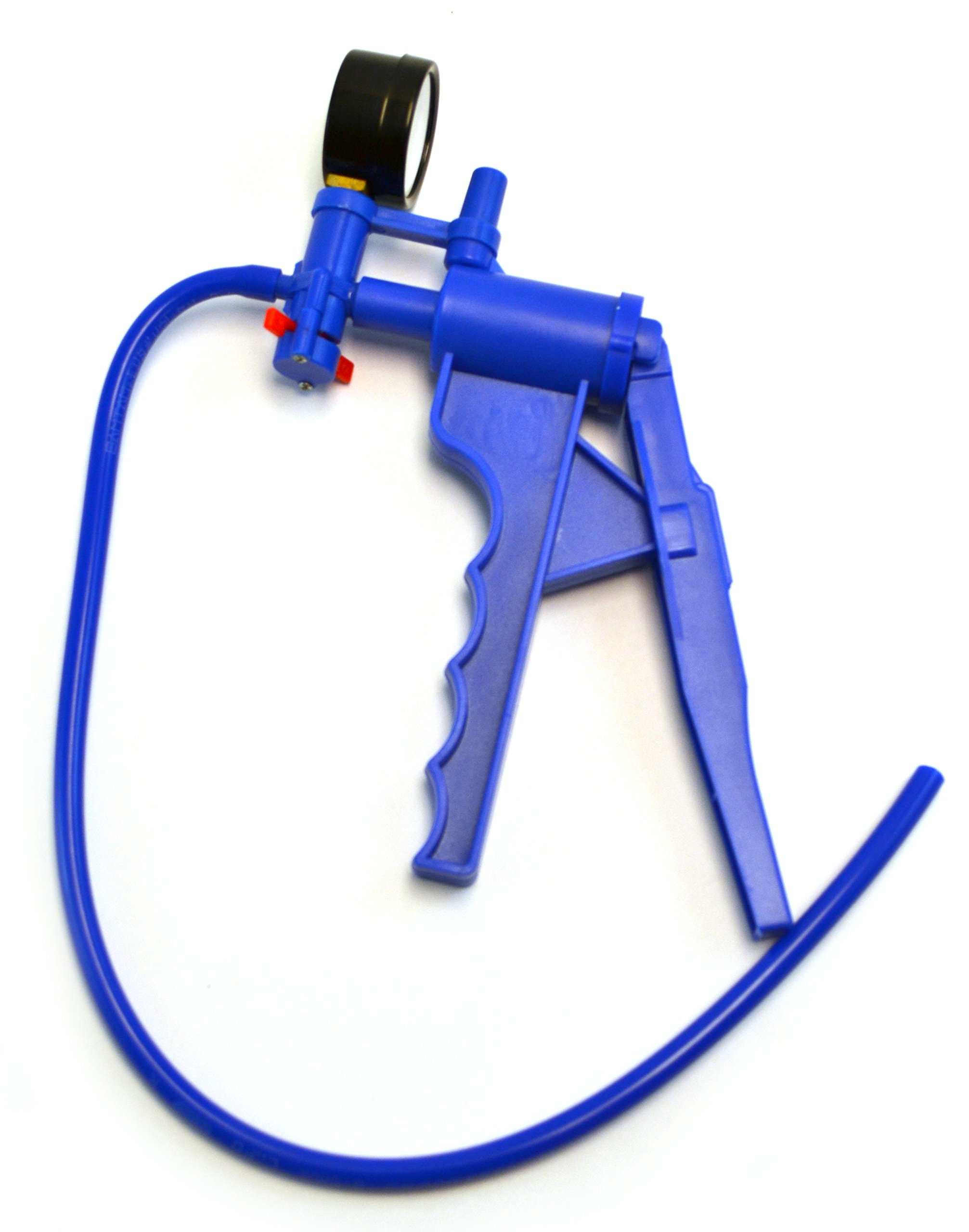 Blue Hand Held Vacuum Pump with gauge and 19.5'' tube
