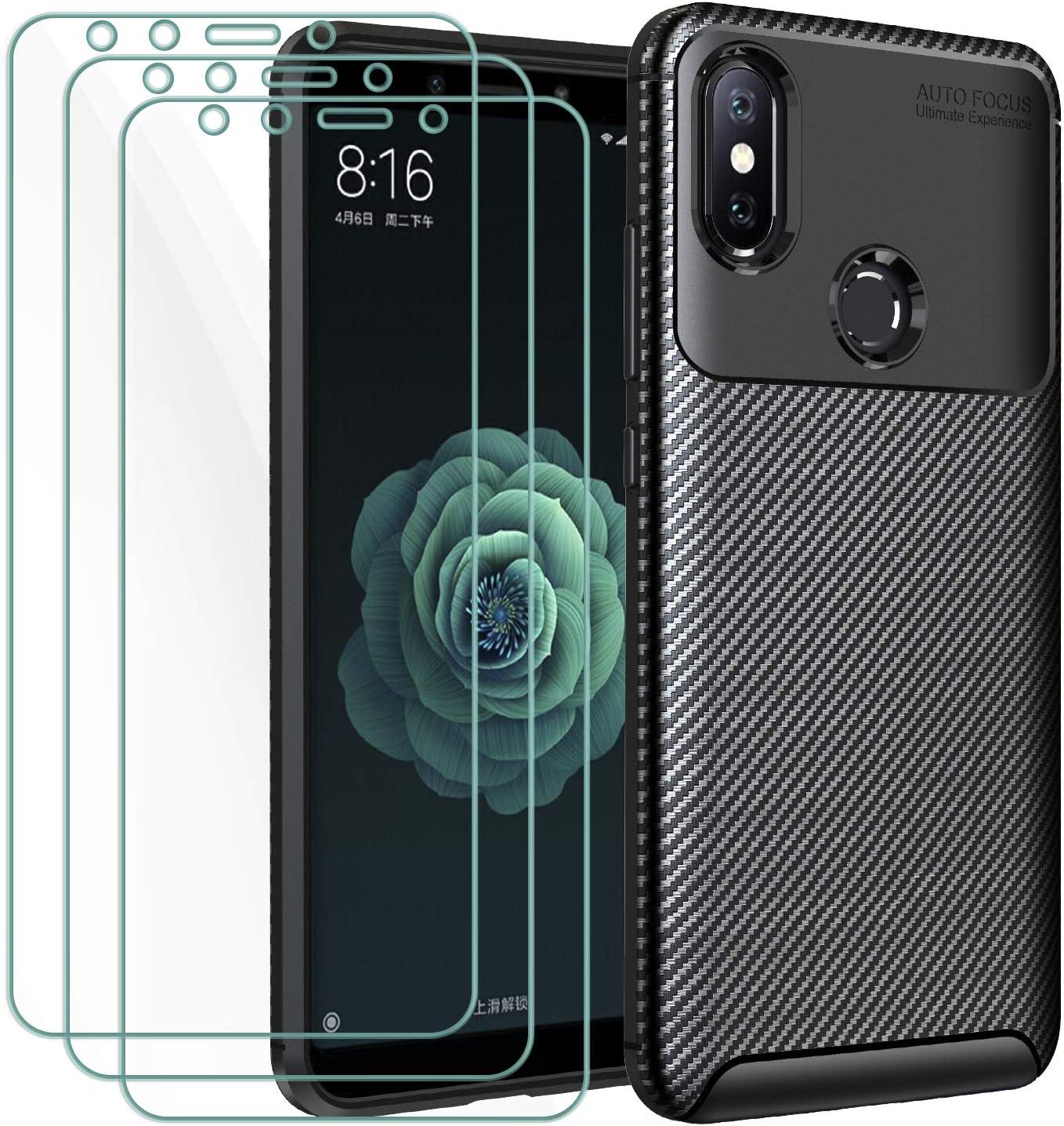 ivoler Funda para Xiaomi Mi A2 + 3 Unidades Cristal Templado, Fibra de Carbono Negro TPU Suave de Silicona [Carcasa + Vidrio Templado] Ultra Fina Caso y Protector de Pantalla