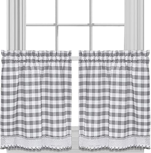 Sweet Home Collection Treatment Kitchen Window Curtain Panel, 36 , Gray