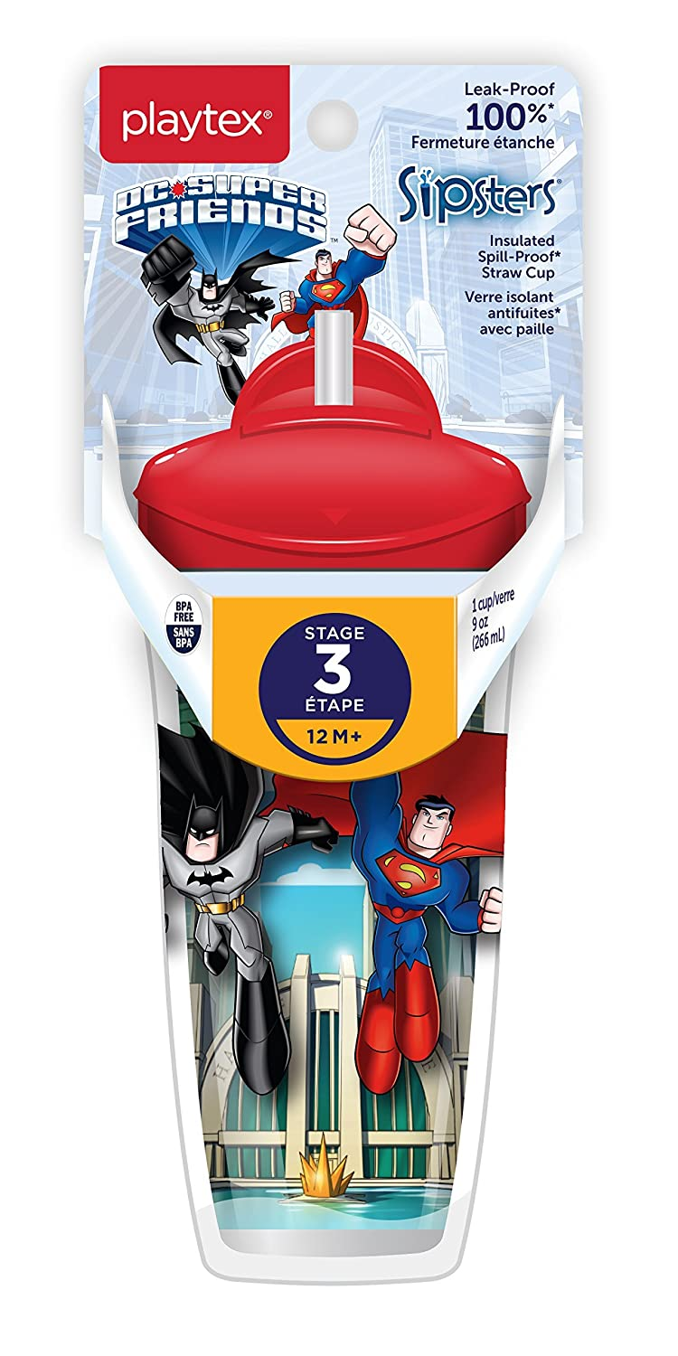Playtex Baby Sipsters Spill-Proof DC Superfriends Superman Kids Straw Cup, Stage 3 (12+ Months), Pack of 1 Cup