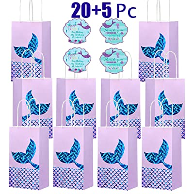Mermaid Party Bags 20pcs & 20pcs Mermaid Stickers Birthday Goodie Bags for Mermaid Themed Party: Toys & Games