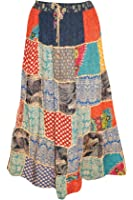 Mogul Interior Womens Boho Hippie Maxi Patchwork Skirt Multicolored with Drawstring Large