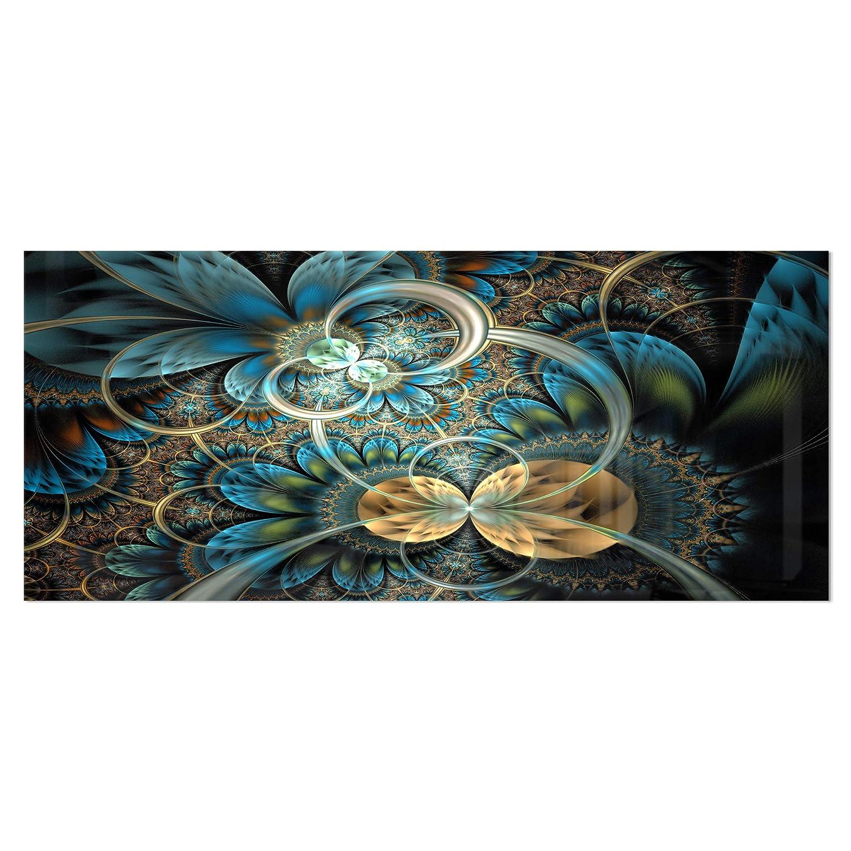 Amazon com: Designart Symmetrical Blue Gold Fractal Flower-Digital