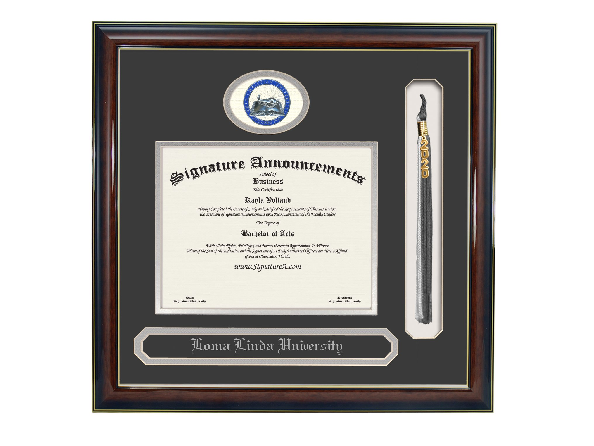 Signature Announcements Ohio-Christian-University Undergraduate, Graduate/Professional/Doctor Sculpted Foil Seal, Name & Tassel Diploma Frame, 16'' x 16'', Gold Accent Gloss Mahogany