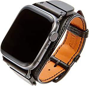 ARTENIX detachable leather smartwatch band compatible with Apple Watch 44mm iWatch strap for series 1 2 3 4 5 (Midnight Black)