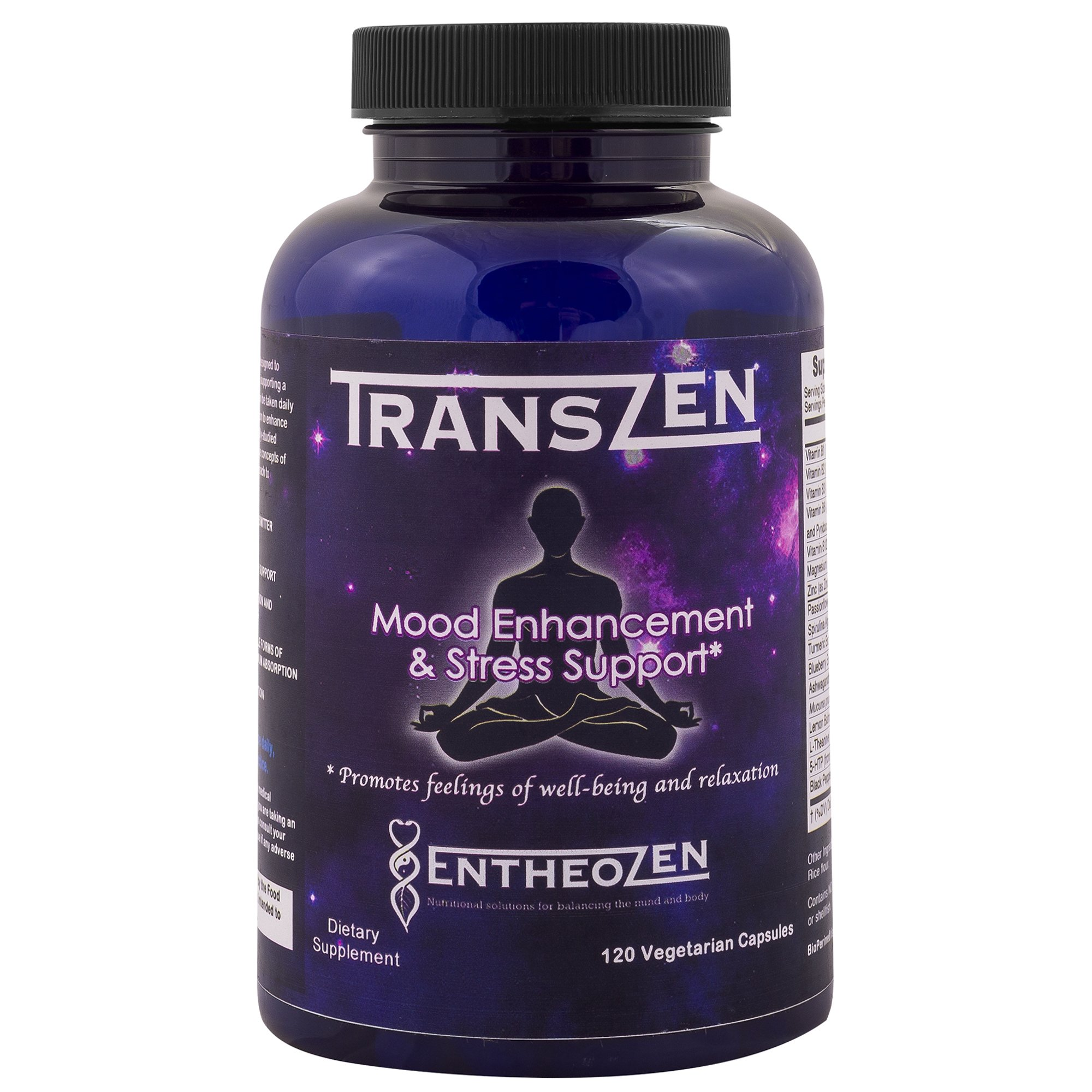 TransZen - Natural Stress Relief & Mood Support, Anxiety Relief, Anti Depression, 5htp & Herb Supplement with Ashwagandha & L-Theanine -Feel Happy & Calm Naturally - 120 Capsules