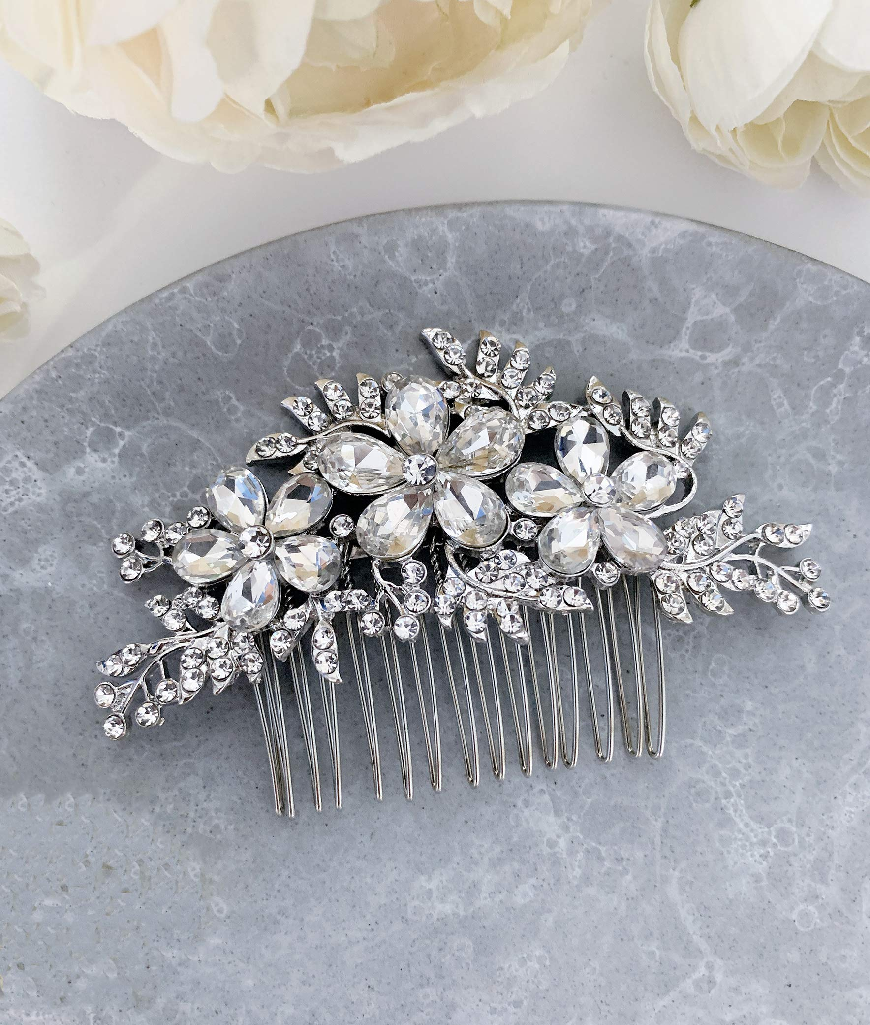 Wedding Hair Accessories Bridal Hair Comb Silver Crystal Rhinestone Elegant Floral Hair Pin Headpiece - For Brides and Bridesmaids - The White Toolbox by The White Toolbox