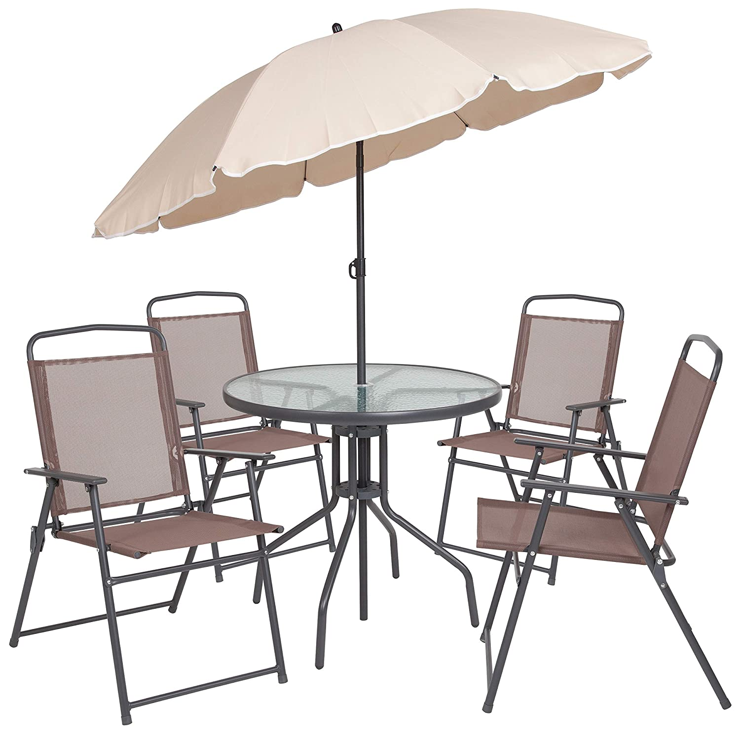 Sensational Flash Furniture Nantucket 6 Piece Brown Patio Garden Set With Table Tan Umbrella And 4 Folding Chairs Machost Co Dining Chair Design Ideas Machostcouk