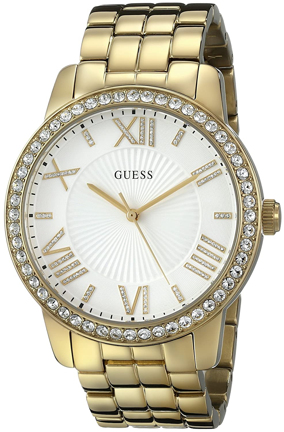 GUESS Women s U0329L2 Dazzling Oversized Gold-Tone Watch with Roman Numerals Genuine Crystals