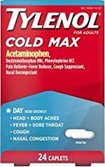 Tylenol Cold Max Daytime Non-Drowsy Cold and Flu Relief, Acetaminophen, 24