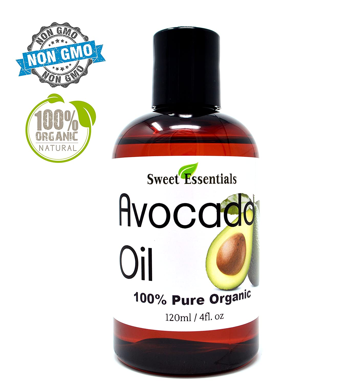 100% Pure Organic Cold-Pressed Avocado Oil - 4oz - Imported from Italy - Non-GMO/Golden in Color