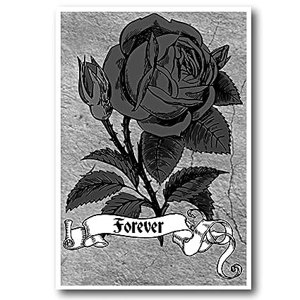 Tarjeta de felicitación con diseño de rosa negra, tarjeta de ...