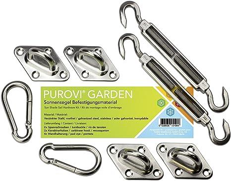 Purovi® Kit de Montaje para Toldo | Fácil Montaje | Acero Inoxidable Galvanizado | Máxima Sujeción: Amazon.es: Jardín