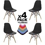 Due-home innovations Pack 4 Sedie, Legno, Nero, 56x47x81 cm, 4 Unità