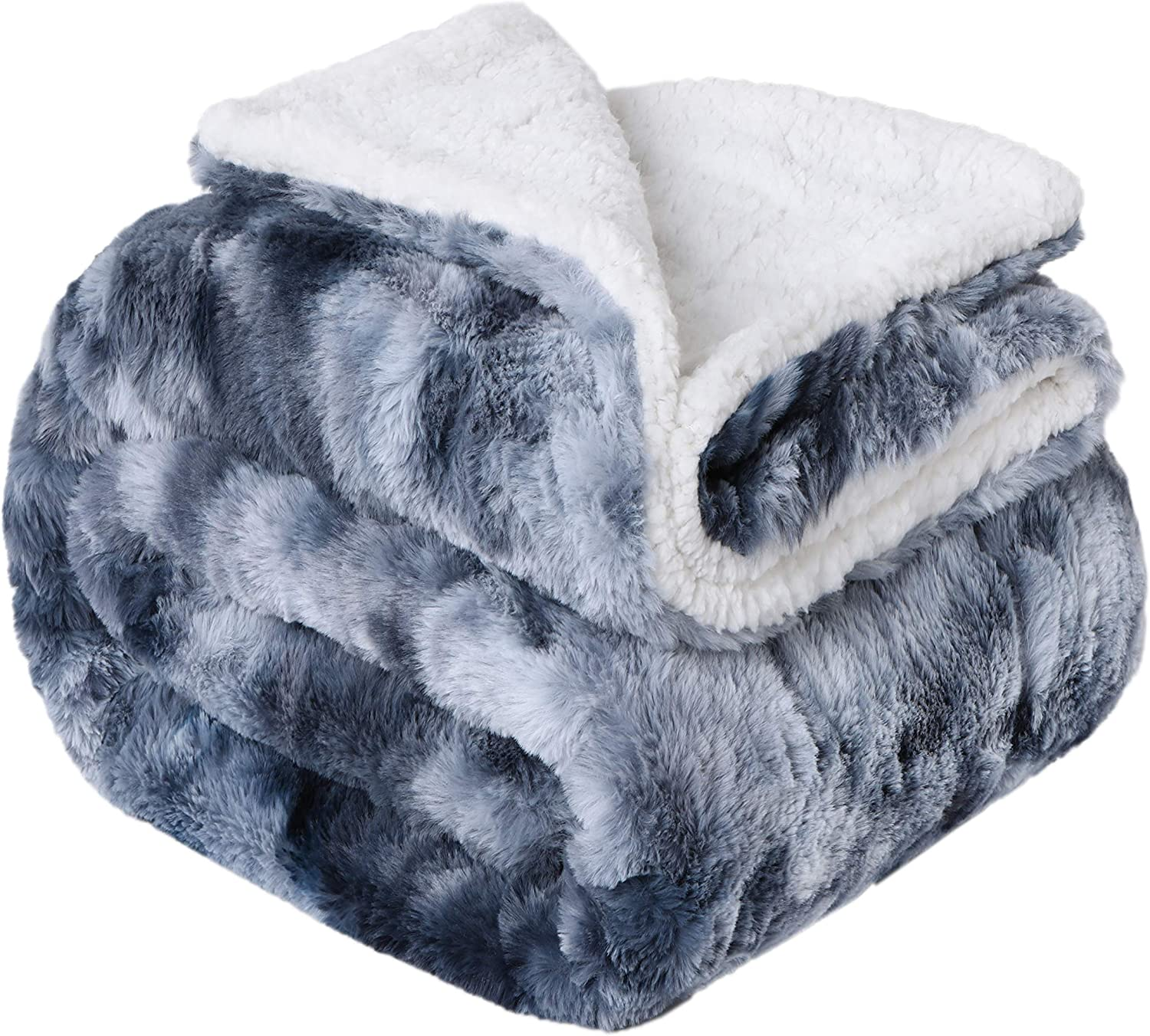 Yukowgu Cozy Tie Dye Faux Fur Blanket Throw, Fuzzy Reversible Sherpa Blankets for Bed Couch Room Décor (Navy, Throw 50 x 60 inches)
