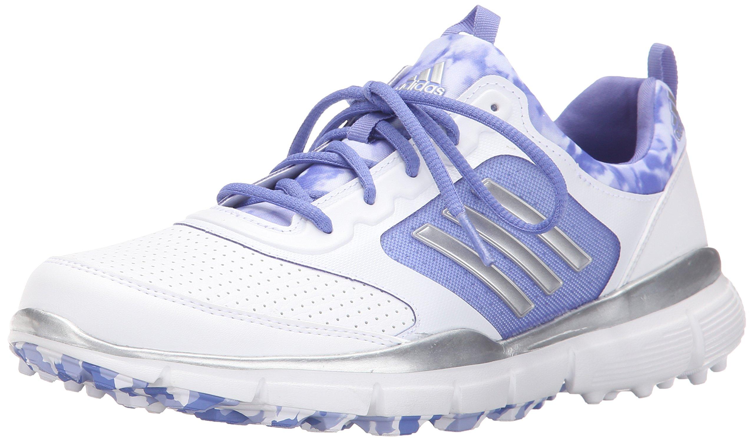 adidas Women's W Adistar Sport Golf Spikeless, FTWR White/Silver Metallic/Baja Blue-TMAG, 7 M US