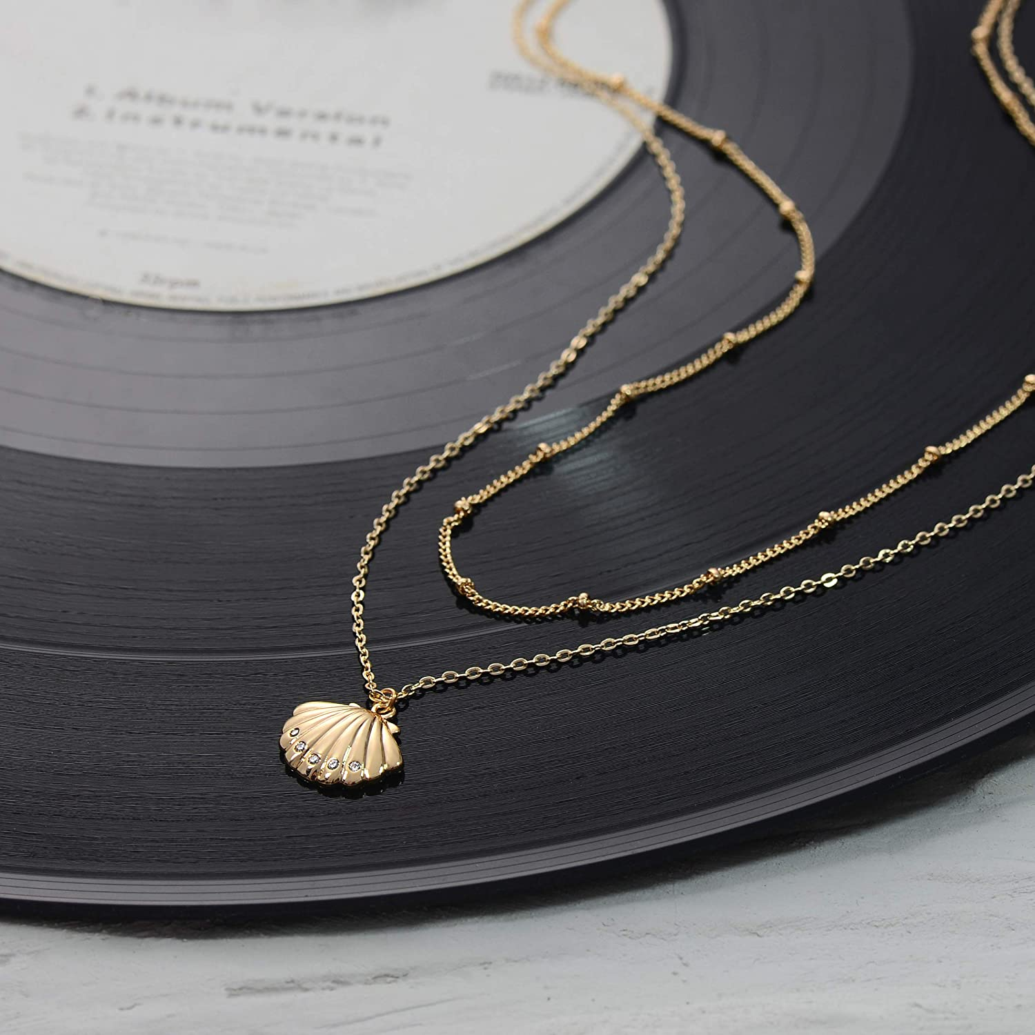 Fettero Coin Necklace Gold Layered Disc Evil Eye Heart Marry Cross Clam Shell Pendant Dainty Chain 14K Gold Plated Minimalist Simple Jewelry for Women