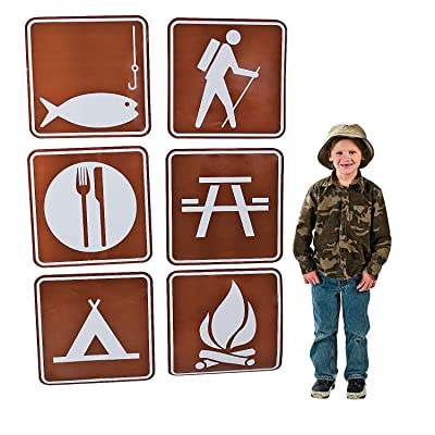 Fun Express Camp Sign Cutouts (6 pc) for Party Decor Accents, Outdoor Themed Parties: Toys & Games [5Bkhe1003431]