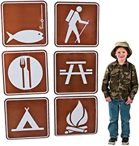 Fun Express Camp Sign Cutouts (6 pc) for Party Decor Accents, Outdoor Themed Parties