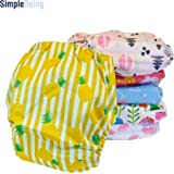 SimplyLife Home Pack of 6 for Girls - Reusable Baby Cloth Diapers, Washable Adjustable Eco-Friendly, Soft Super Absorbent Fabric with Waterproof Cover, Breathable Comfortable No Leaks