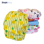 SimplyLife Home Reusable Baby Cloth Diapers Girls, Washable Adjustable Eco-Friendly, Soft Super Absorbent Fabric Waterproof Cover, Shower Gift Registry