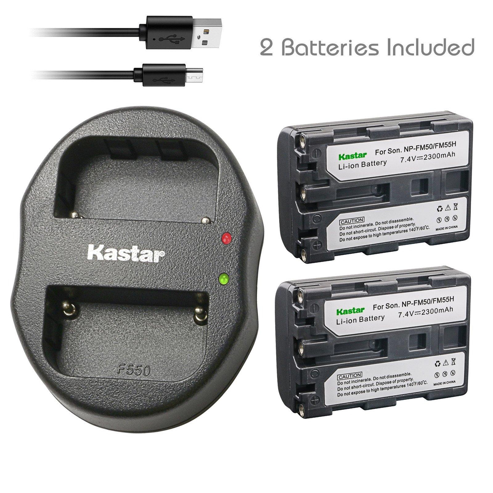 Kastar Battery (X2) & Dual USB Charger for NP-FM50 NP-FM30 NP-FM51 NP-QM50 NP-QM51 NP-FM55H and Sony CCD-FRV DCR-PC DCR-TRV DCR-DVD DSR-PDX GV HVL Series Camera Camcorder