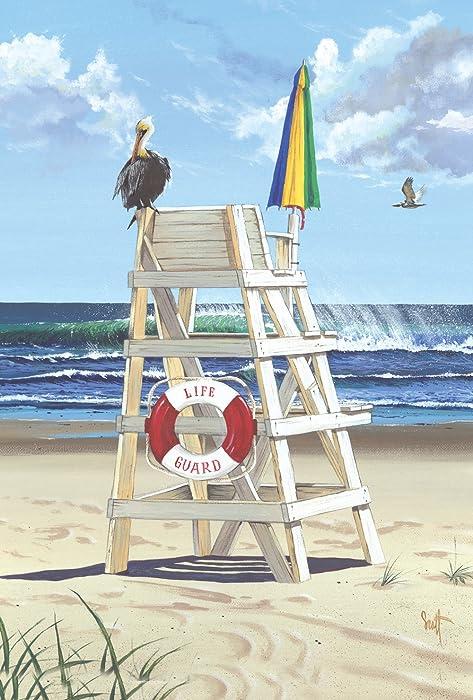 Toland Home Garden Pelican Post 12.5 x 18 Inch Decorative Summer Beach Bird Life Guard Ocean Wave Garden Flag