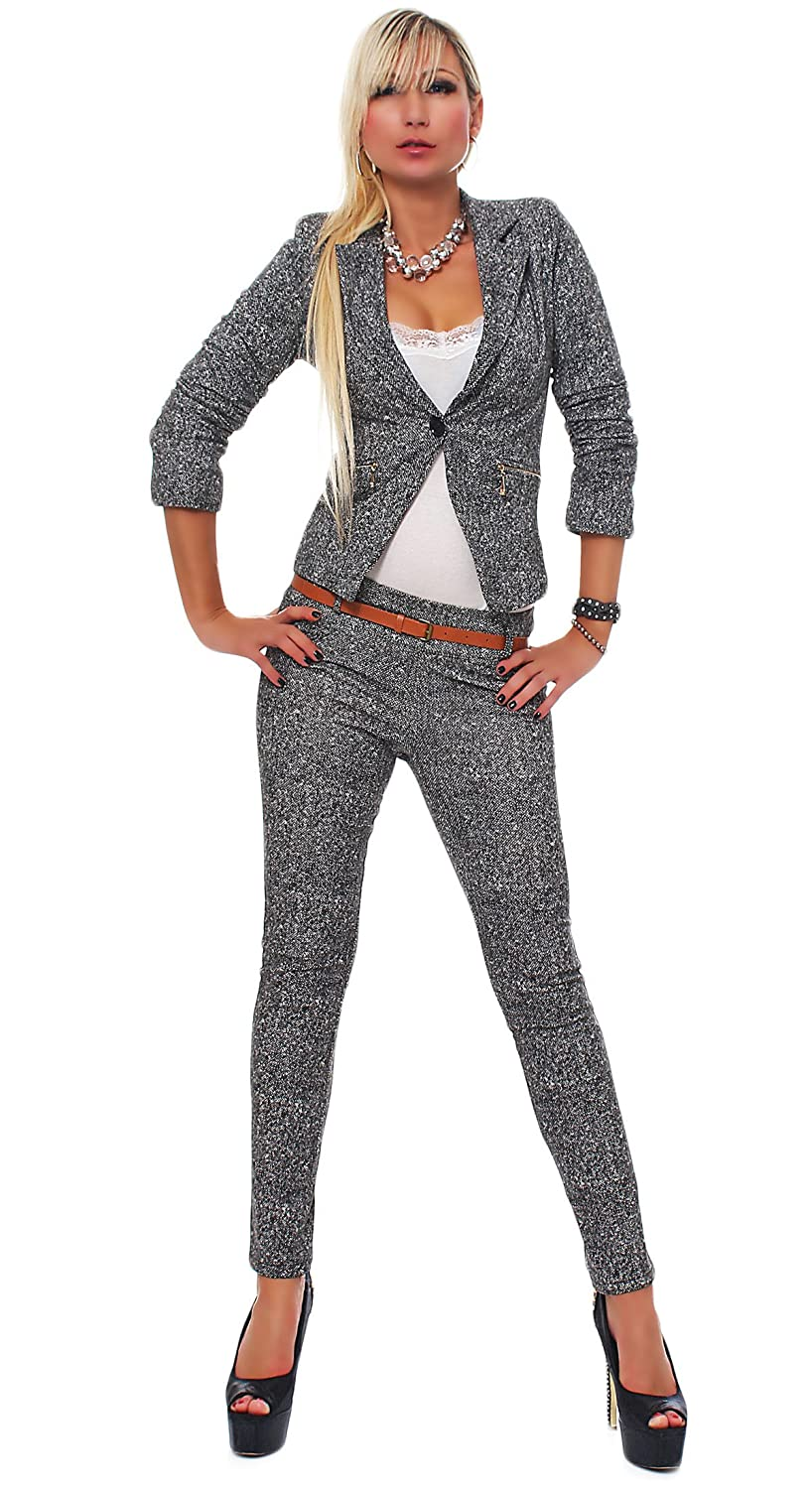 4417 Fashion4Young Damen Business Anzug Hosenanzug Hose und Blazer ...