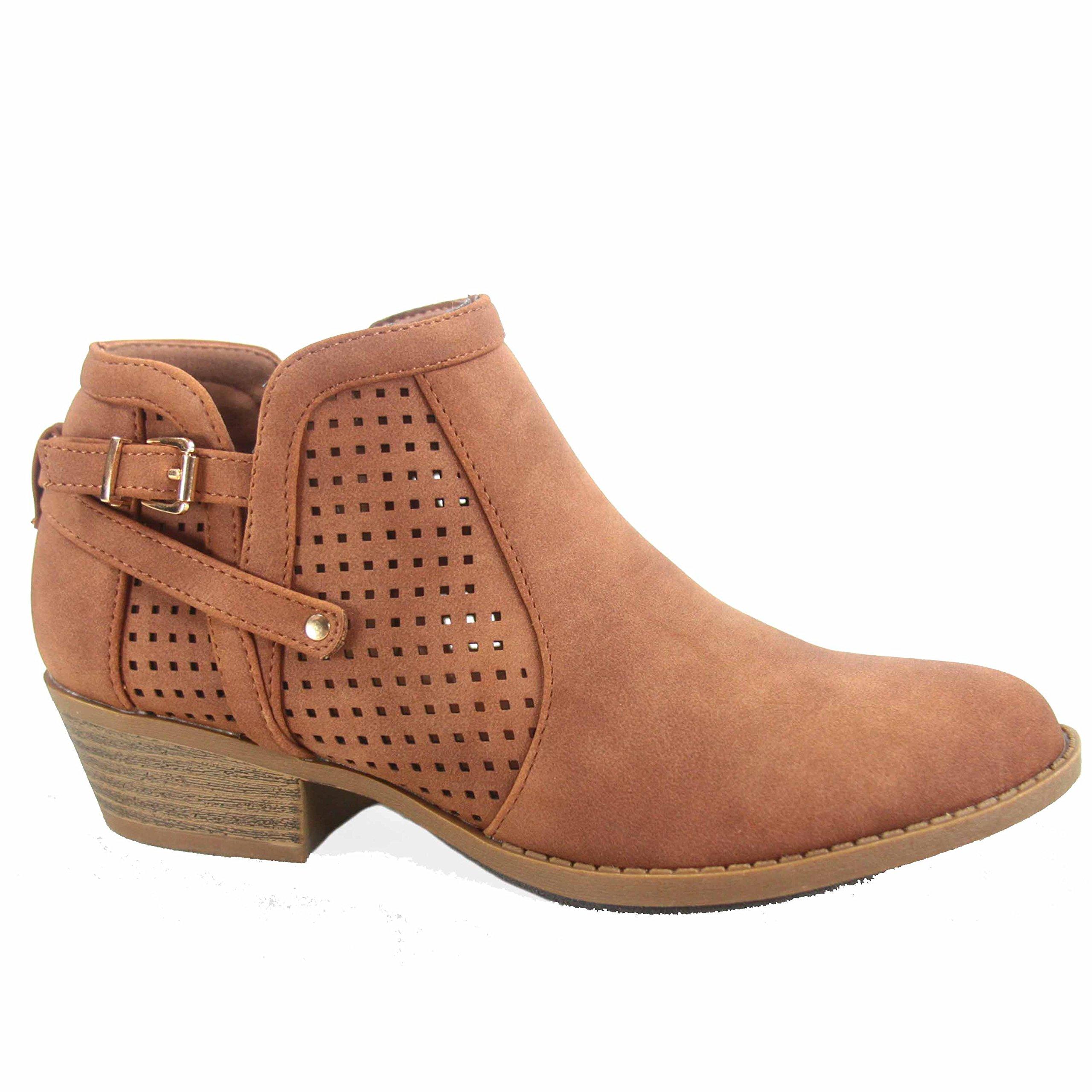 Top Moda Chevy-38 Women's Stylish Almond Toe Buckle Zipper Low Heel Booties Shoes (9 B(M) US, Tan)