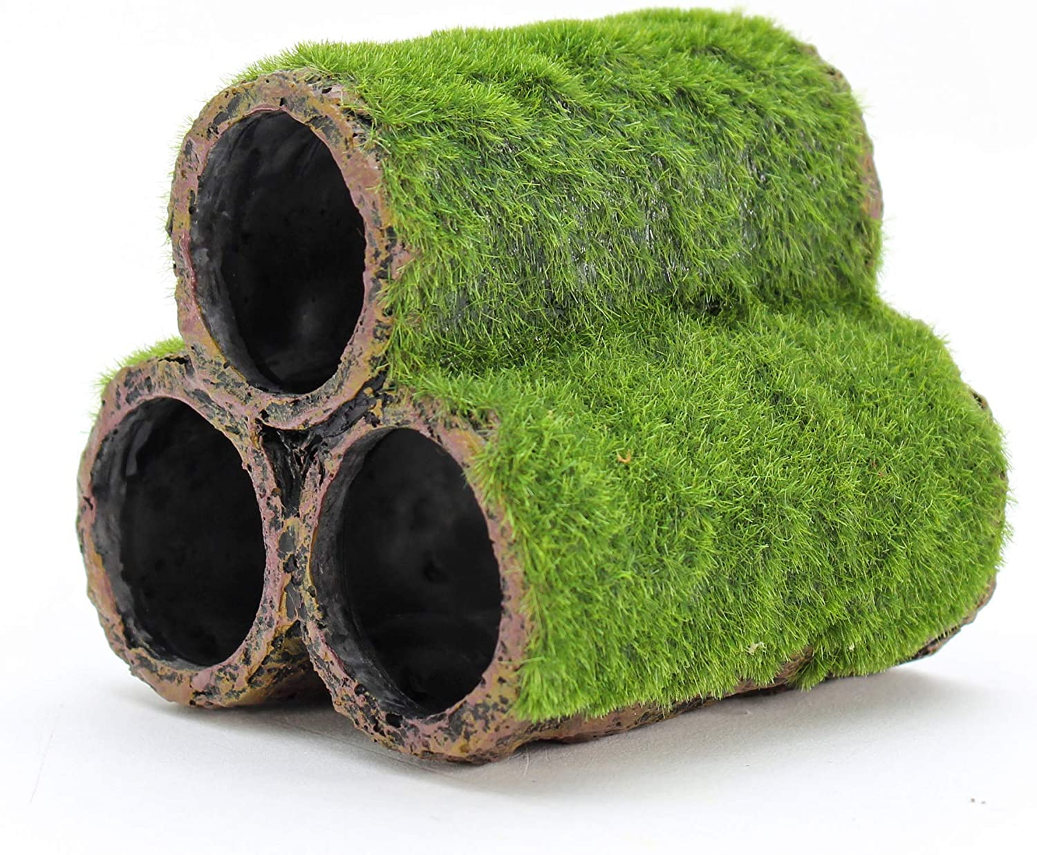 Penn-Plax Hideaway Pipes Aquarium Decoration Realistic Look with Green Moss Like Texture