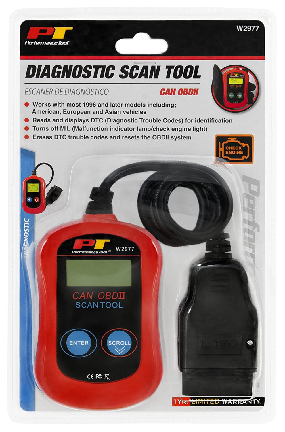 Performance Tool W2977 Can Obd Ii Scanner For Check 2004 F150 Obdii Wiring Harness Engine Light Diagnostics Direct Scan And Read Out Automotive