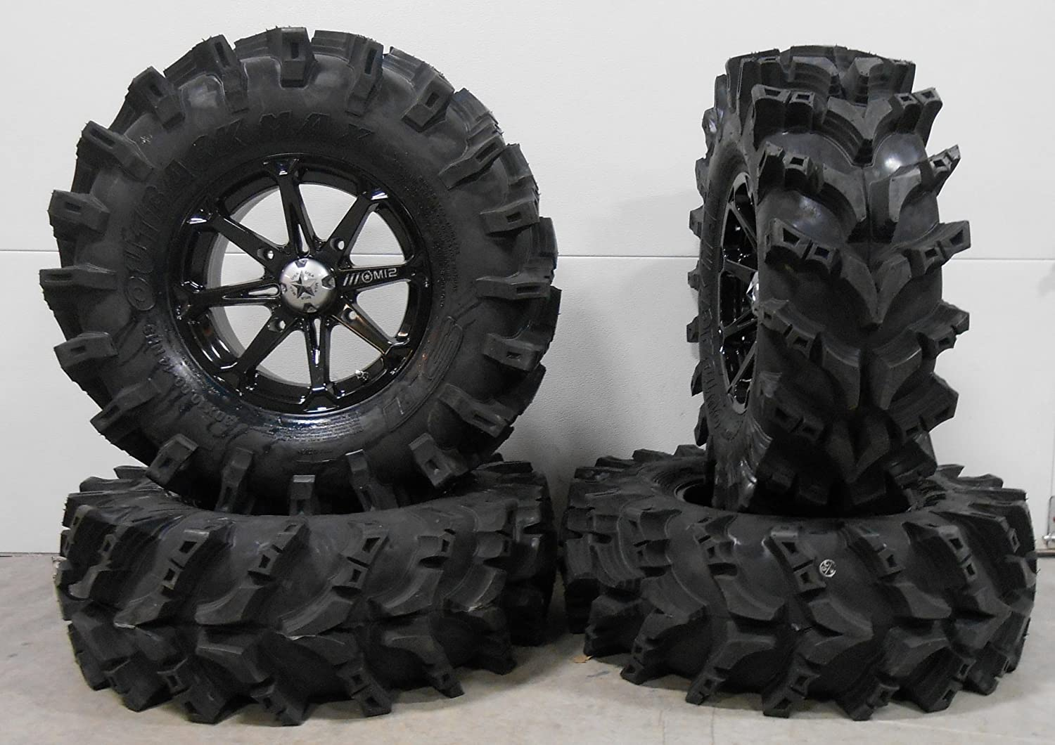 Bundle - 9 Items: MSA Black Diesel 14' ATV Wheels 30' Outback Max Tires [4x137 Bolt Pattern 10mmx1.25 Lug Kit] Multiple