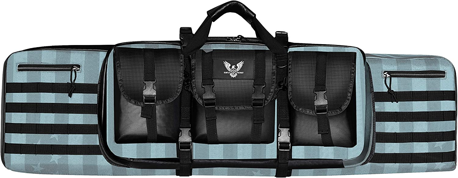 Subtle Patriot Tactical 2 40in Rifle Case, 15 M5 4 Magazines, Soft Foam Padding, Shoulder Straps for Backpack Carrying