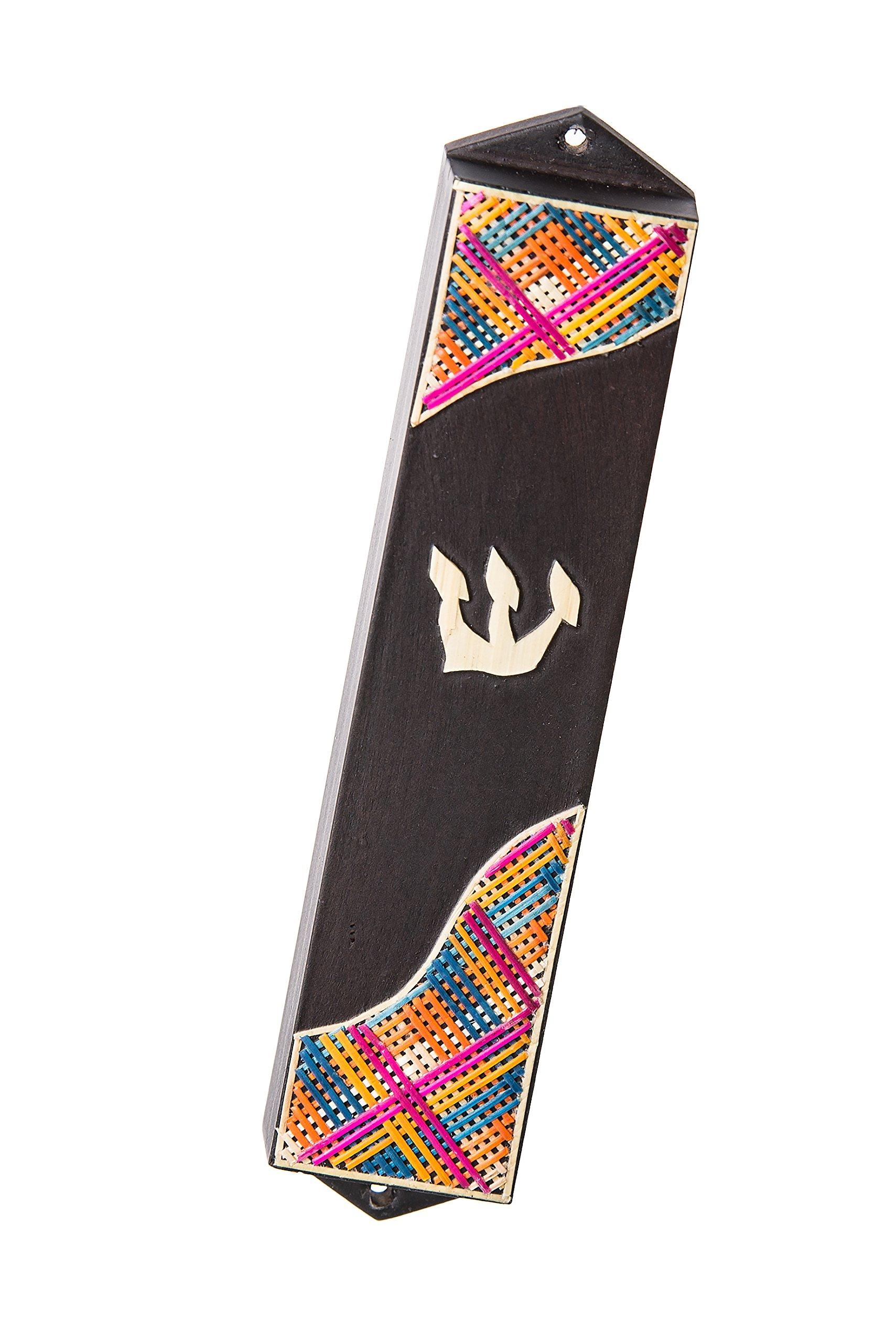 Copa Judaica Mezuzah Dark Wood With Mulitcolor straws