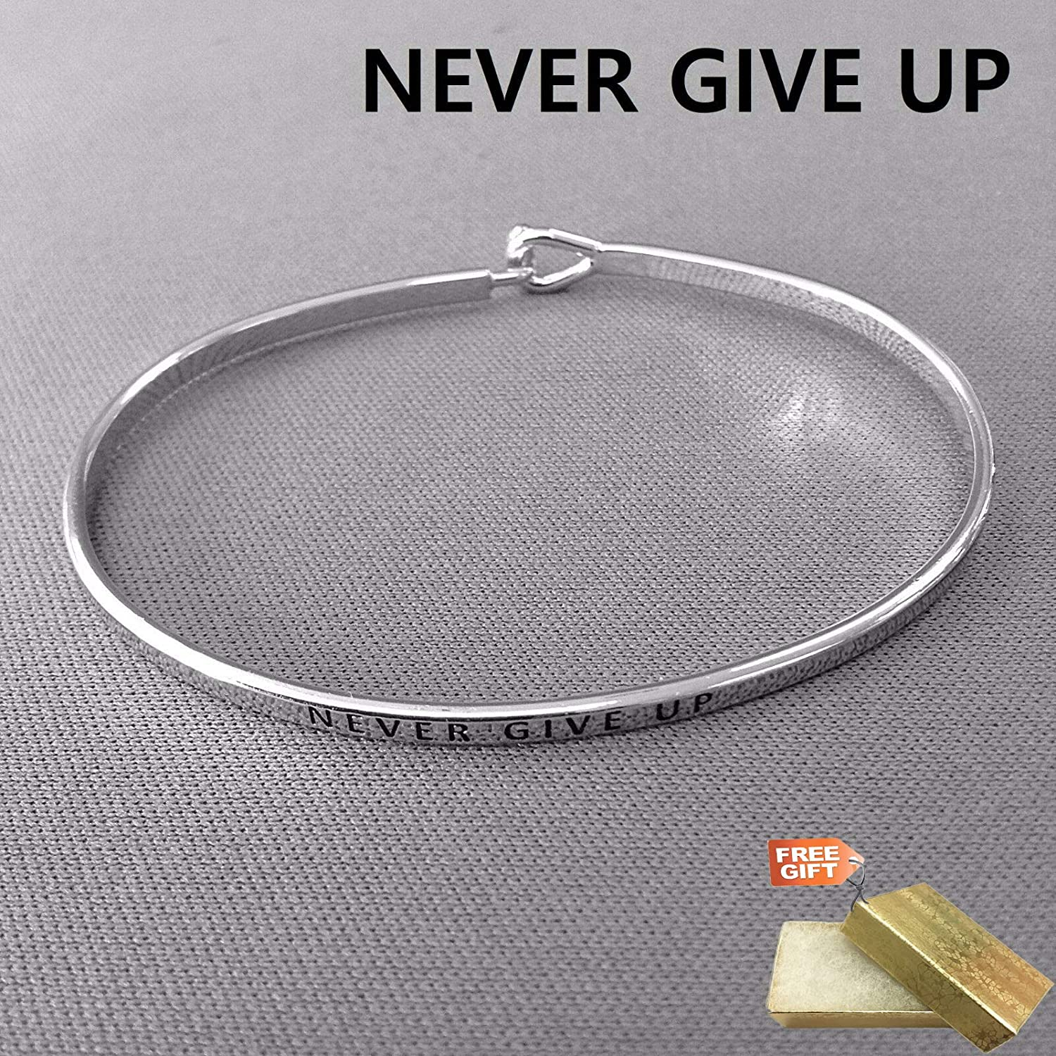 Gold Cotton Filled Gift Box for Free Silver Finished NEVER GIVE UP Statement Message Engraved Brass Bangle Fashion Jewelry Bracelet For Women